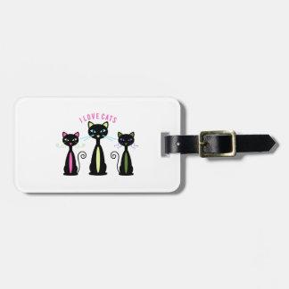 Gatos del amor etiqueta de equipaje