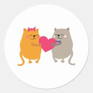 Gatos del amor pegatina redonda