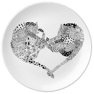 Gatos del amor plato de cerámica