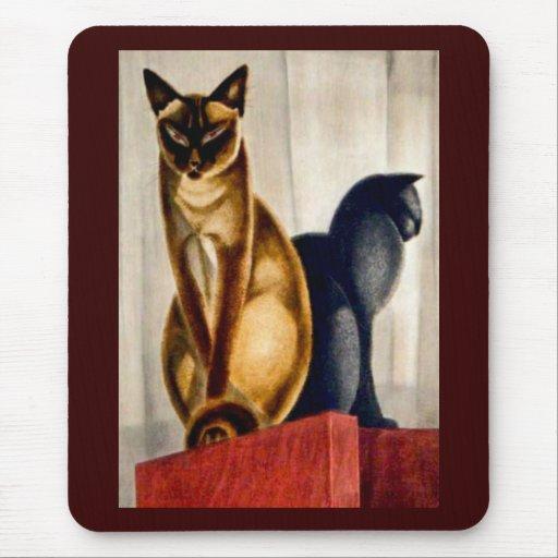 Gatos del art déco tapete de ratón