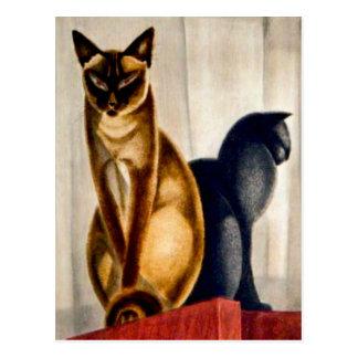 Gatos del art déco tarjeta postal