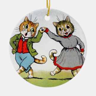 Gatos del baile adorno navideño redondo de cerámica