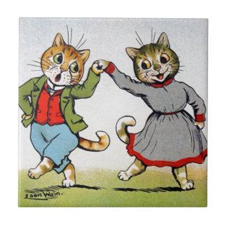 Gatos del baile azulejo cuadrado pequeño