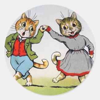 Gatos del baile etiqueta redonda