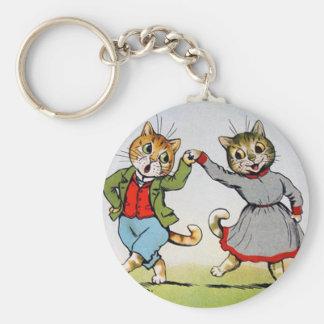 Gatos del baile llavero redondo tipo pin
