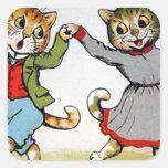 Gatos del baile calcomanía cuadradas personalizadas