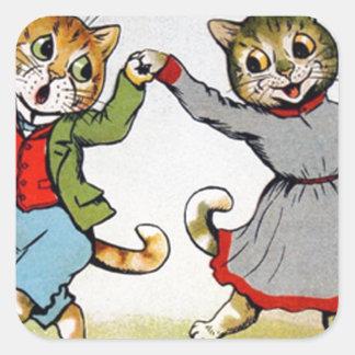 Gatos del baile pegatina cuadrada