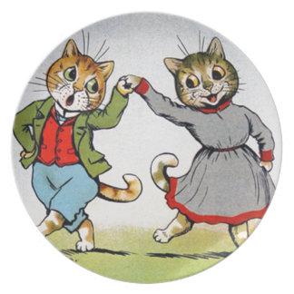 Gatos del baile plato de comida