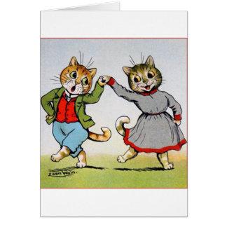 Gatos del baile tarjeta de felicitación