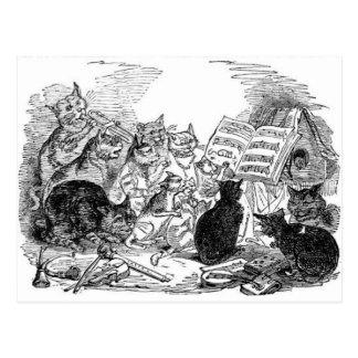 Gatos del canto del vintage postal