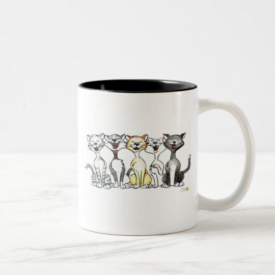 Gatos del canto taza de café de dos colores