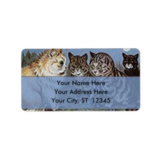 Gatos del claro de luna de Louis Wain, etiqueta de Etiqueta De Dirección