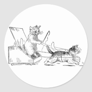 Gatos del coche del balde de carbón pegatina redonda