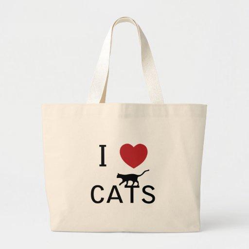 gatos del corazón i bolsa tela grande