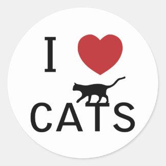 gatos del corazón i pegatina redonda