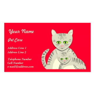 Gatos del cuidado de animales de compañía tarjeta personal
