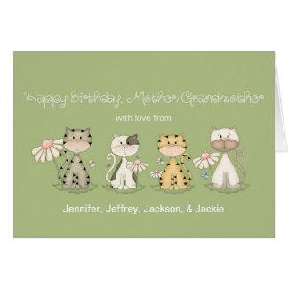 Gatos del cumpleaños 4 de la madre/de la abuela - tarjeta de felicitación