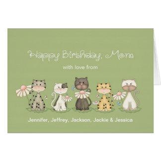 Gatos del cumpleaños 5 de la mamá de todos - tarjeta de felicitación