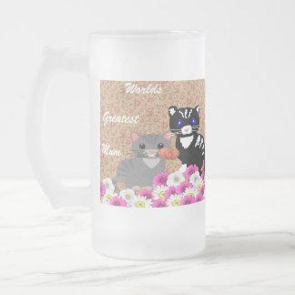 Gatos del día de madre taza de cristal