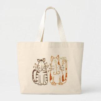 gatos del dibujo animado bolsa tela grande