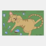 Gatos del dibujo animado pegatina rectangular