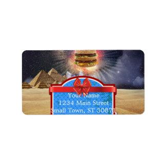 gatos del espacio que buscan la hamburguesa etiquetas de dirección