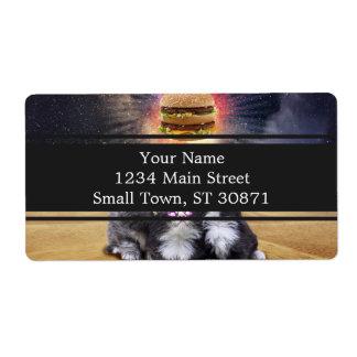 gatos del espacio que buscan la hamburguesa etiquetas de envío