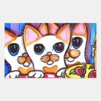 Gatos del feliz cumpleaños rectangular pegatina
