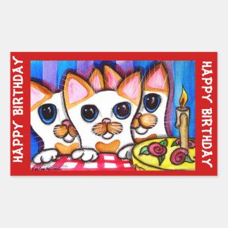 Gatos del feliz cumpleaños rectangular pegatinas