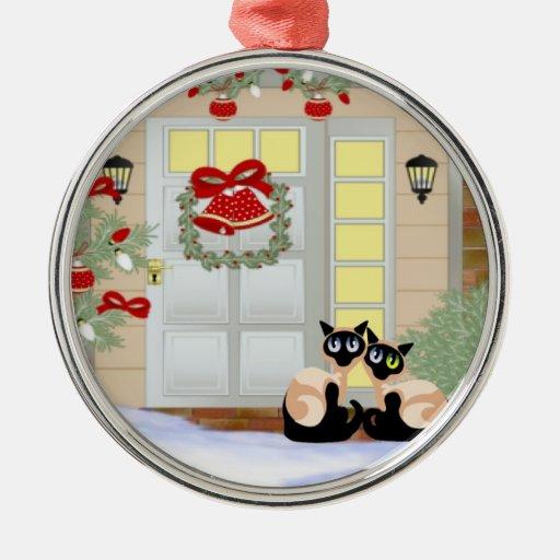 Gatos del gatito de Siames del navidad Ornamentos De Navidad