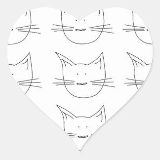 Gatos del gatito pegatina en forma de corazón
