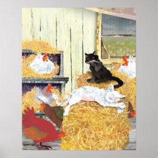 Gatos del granero napping póster