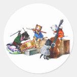 Gatos del jazz pegatina redonda