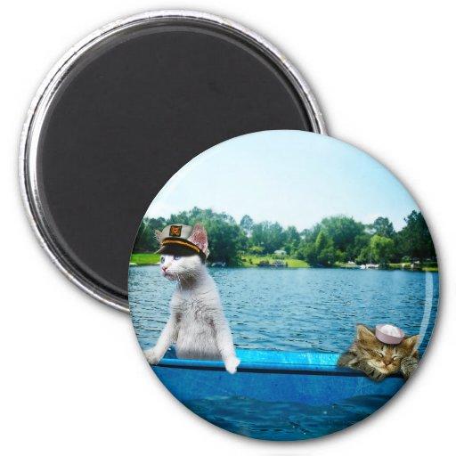 Gatos del marinero imán redondo 5 cm