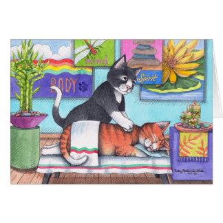 Gatos del masaje (brote y Tony) Notecard Tarjeta De Felicitación