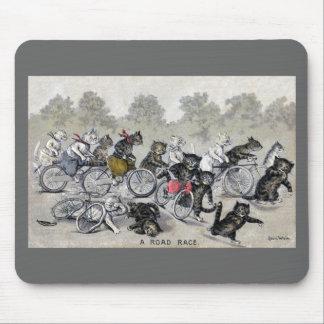 Gatos del montar a caballo de la bicicleta alfombrilla de raton