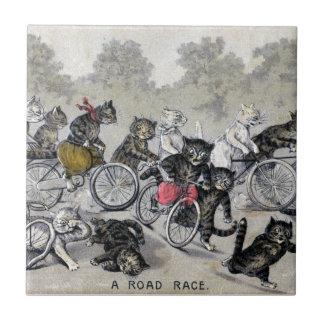 Gatos del montar a caballo de la bicicleta azulejo cuadrado pequeño