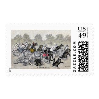 Gatos del montar a caballo de la bicicleta sello postal