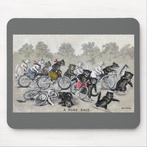Gatos del montar a caballo de la bicicleta alfombrilla de ratón