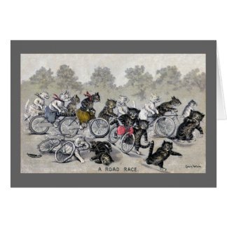 Gatos del montar a caballo de la bicicleta tarjeta de felicitación