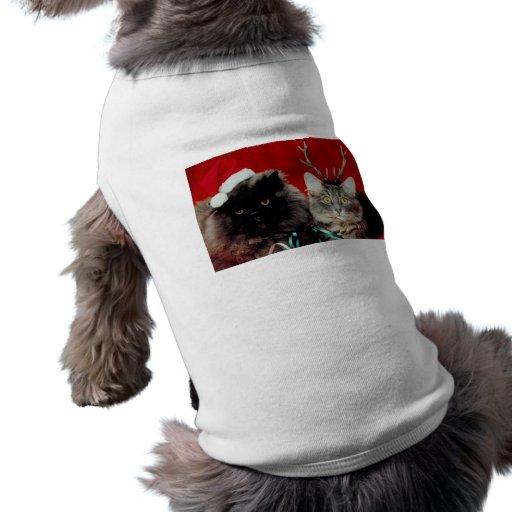 Gatos del navidad camiseta de mascota