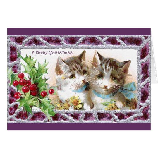 Gatos del navidad con acebo y margaritas tarjeta de felicitación