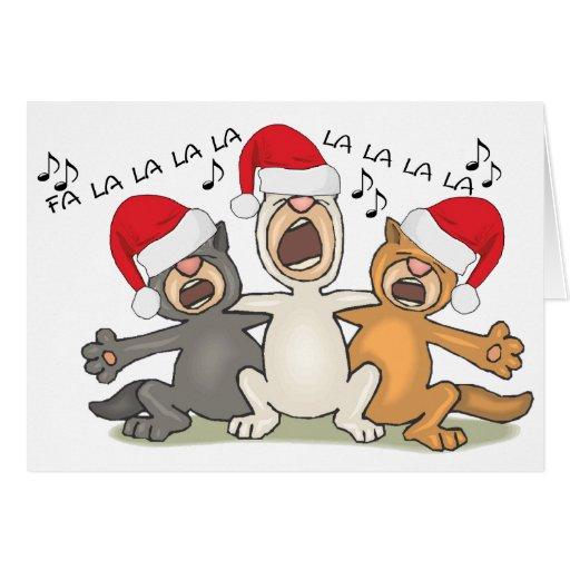 Gatos del navidad del canto tarjeta pequeña