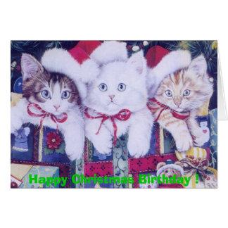 Gatos del navidad del cumpleaños tarjeta de felicitación