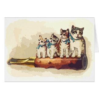 Gatos del navidad del Victorian Tarjeta De Felicitación