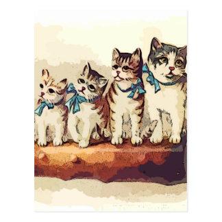 Gatos del navidad del Victorian Tarjeta Postal