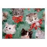 Gatos del navidad del vintage felicitacion