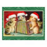 Gatos del navidad del vintage invitaciones personalizada