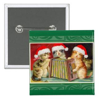 Gatos del navidad del vintage pin cuadrada 5 cm