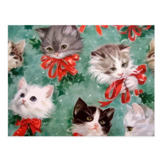 Gatos del navidad del vintage postales